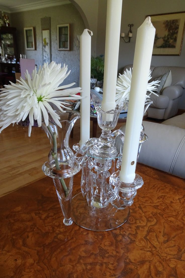 Cambridge Glass Arm Candle Holder with Flower Epergne | Vintage Table Candelabra | 1940's Crystal Candle Holder with Vase | Home Decor