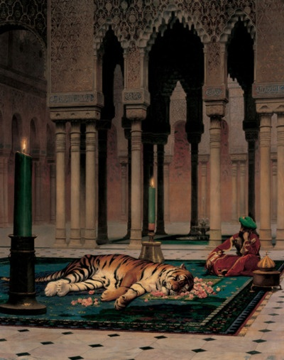 Tiger's head laid on a bed of flowers means it was loved.  -- Found it!  The Grief of the Pasha by Jean-Leon Gerome. 1882.  It was his favorite pet.