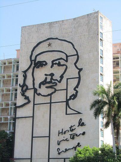 Iconic image of Che Guevara in Revolution Square, Havana, Cuba.