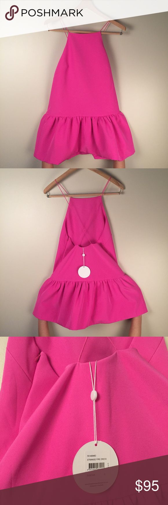 Finders Keepers Strange Fire Fuchsia dress. S. Poly blend shirred drop waist skirt. Adorable summer dress, NWT! Finders Keepers Dresses Backless