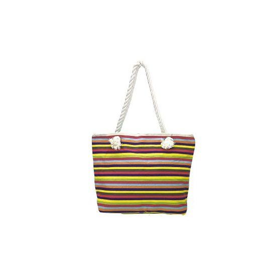 Canvas strandtassen  Linnen strandtas dunne strepen design. Strandtas met strepen in de kleuren geel rood en lila paars. De tas heeft 1 groot vak en is gemaakt van 100% linnen. Formaat van de tas is : 48 x 34 x 10 cm.  EUR 9.99  Meer informatie