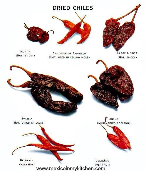 Mexican dried peppers. A few selection of peppers