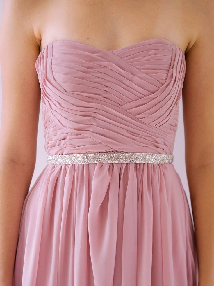 Charlize with Leaf Belt - Looking for Bridesmaid gowns? Or a Formal Dress? Pleated top and plain skirt -available in over 30 different colours- Perfect Fit! Silk + Polyester. Dry Clean only