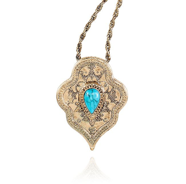 LET'S GET LOST PENDANT NECKLACE - TURQUOISE
