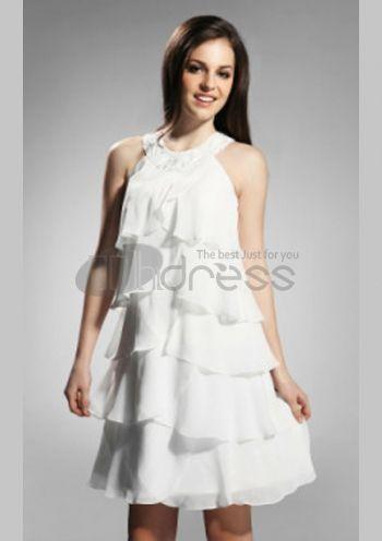 Abiti da Ballo Corti-una linea di abiti da sera corti bianchi abiti da ballo economici
