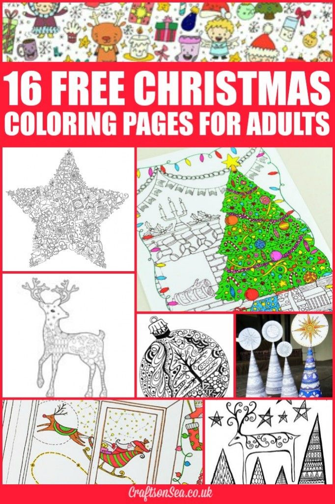 Kick back and relax this Christmas with these free Christmas coloring pages for adults. Includes Christmas tree coloring pages, reindeer coloring pages and stars