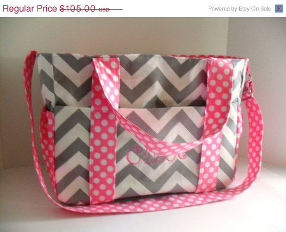 SALE Monogrammed Extra Large Diaper bag Made of Gray by fromnancy