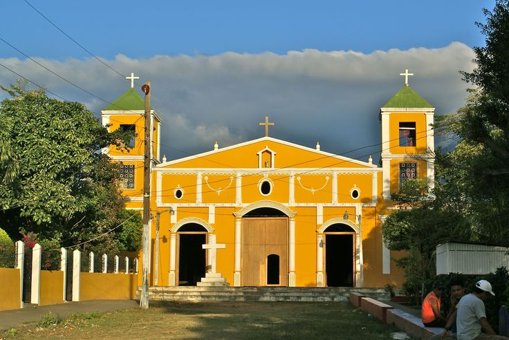 Central Catholic church in Moyogalpa, Ometepe Island, late in the afternoon, cloud bank on the horizon.