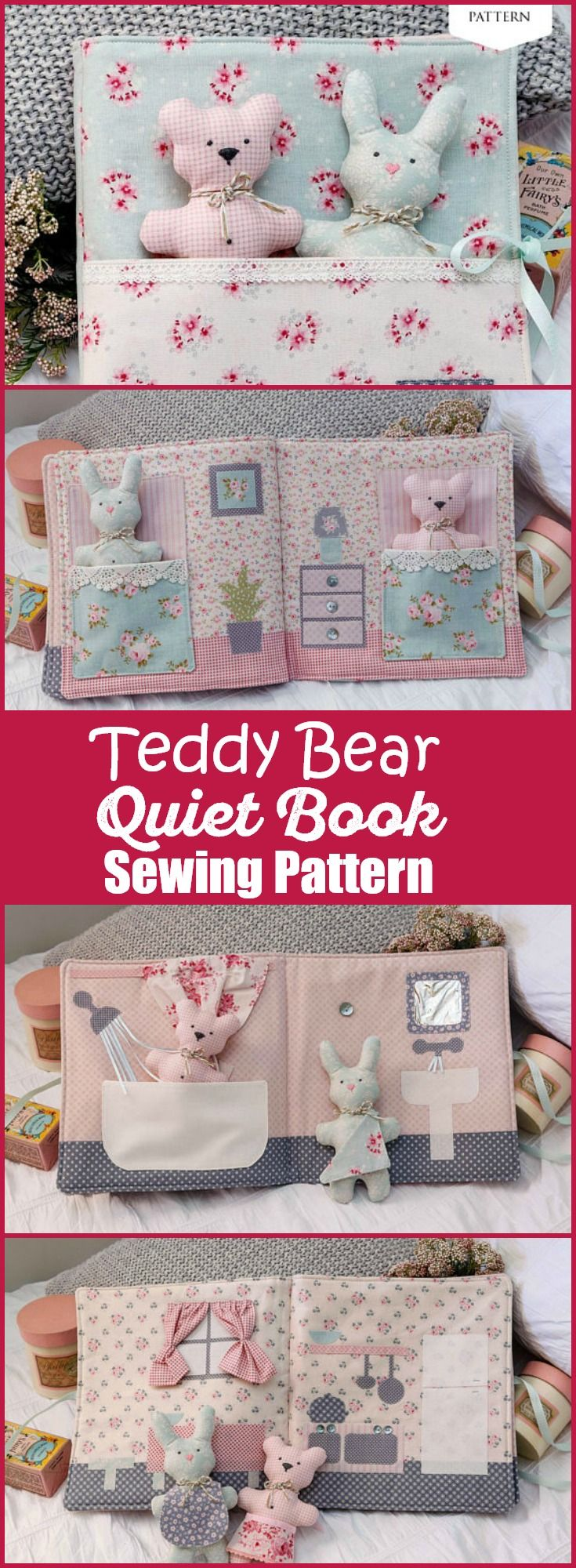 PDF sewing pattern to make a sweet DIY story book, including a teddy bear and bu…
