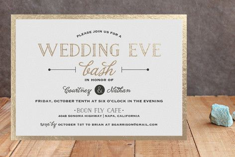 """Wedding Eve Bash"" - Bold typographic, Modern Foil-pressed Rehearsal Dinner Invitations in Pearl by Kaydi Bishop."