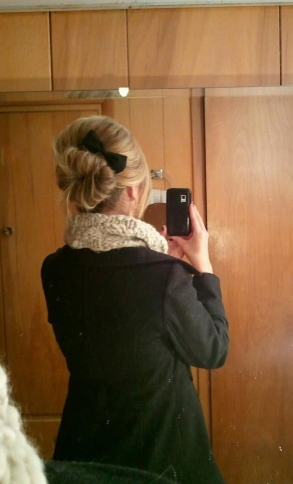 sock bun + large bow