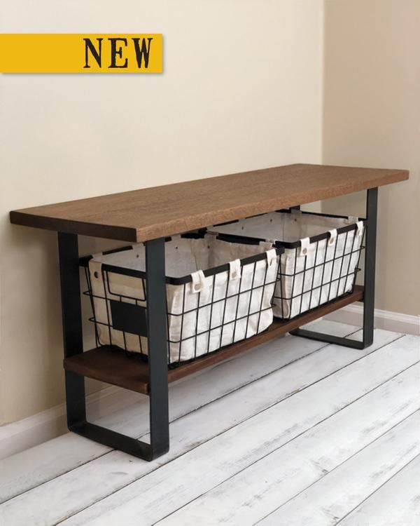 Handmade Solid Hardwood Entryway Bench With Shoe Storage Shelf Steel Legs Wire Stor Bench With Shoe Storage Entryway Shoe Storage Storage Bench With Baskets