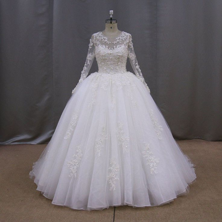 Find More Wedding Dresses Information About Real Picture Long Sleeve Ball Gown