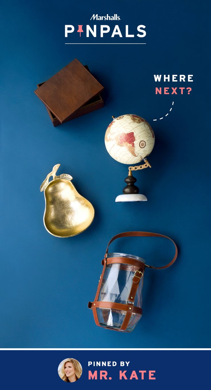 You don't have to be a world traveler to add a global touch to your home. Just update your décor! From globes to wooden boxes to pear-shaped, gold dishes and leather-wrapped lanterns, these finds that YouTube star, Mr. Kate, shipped off to her lucky Pin Pal can add quite the worldly charm to your space. Inspired by this pin? Save it and you could be surprised by a Pin Pals box tailored to your style! Now that's a true #MarshallsSurprise. #Contest rules: http://marshallspinpals.dja.com/
