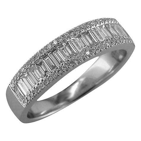 Buy EWA 18ct White Gold 0.75ct Diamond Baguette Cut Half Eternity Ring, N Online at johnlewis.com