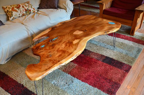 Natural Edge Slab American Elm Coffee Table With Turquoise