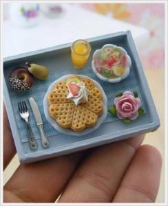 mini breakfast tray with waffles