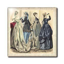 "4 Beautiful Dressed Up Ladies From Past - 12 Inch Ceramic Tile by Florene. $22.99. Dimensions: 12"" H x 12"" W x 1/4"" D. High gloss finish. Image applied to the top surface. Clean with mild detergent. Construction grade. Floor installation not recommended.. 4 Beautiful Dressed Up Ladies From Past Tile is great for a backsplash, countertop or as an accent. This commercial quality construction grade tile has a high gloss finish. The image is applied to the top surface and..."