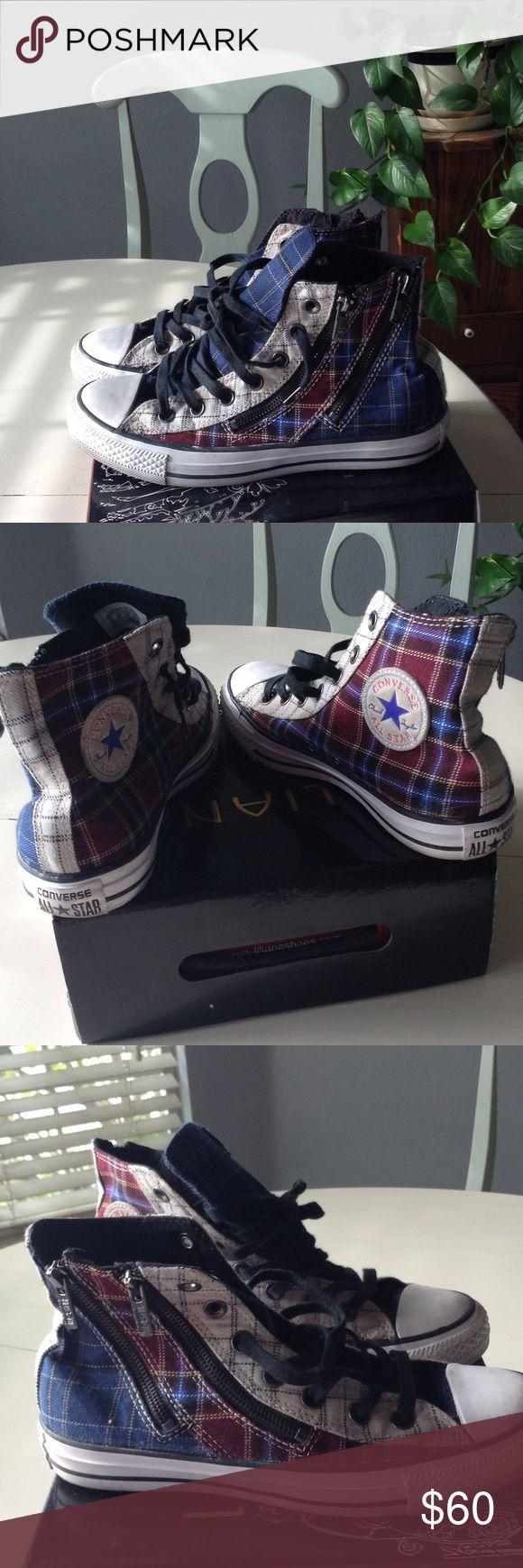 converse zip up shoes. adorable high top, plaid, zip up converse ⭐️nwot⭐️ shoes