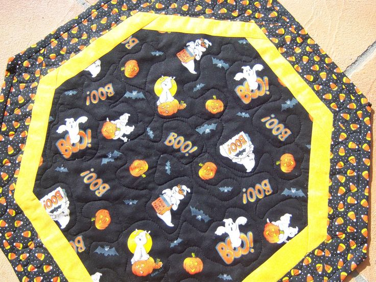 Friendly Halloween Ghosts, Quilted Table Topper by CreativeCreationsDeb on Etsy