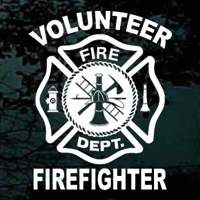 Volunteer Firefighter Maltese Cross window decals and stickers available in a variety of sizes and colors.