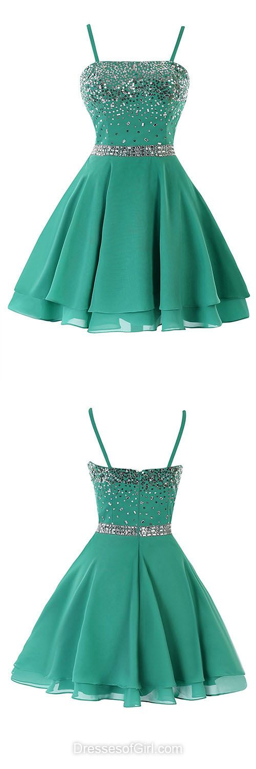 Casual Summer Dresses, Green Homecoming Dresses, Short Cocktail Dresses, Sequins Party Gowns, chiffon Prom Dresses