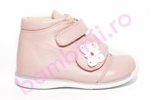 Ghete fete 561 roz fluture 18-25. Incaltaminte din piele pentru copii si adulti - bambinii.ro