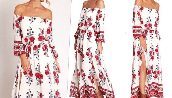 Buy: Floral Bardot Side Split Maxi Dress for just: £12.00 Perfect your summer wardrobe with a stylish Floral Maxi Dress      Boho design with a bardot top, long sleeves and high slits on the skirt      Available in sizes UK 8-10 and UK 12-14      Wear during the day, or pair with heels for a nighttime look      Red and white floral design, with intricate border at the bottom      Elasticated...