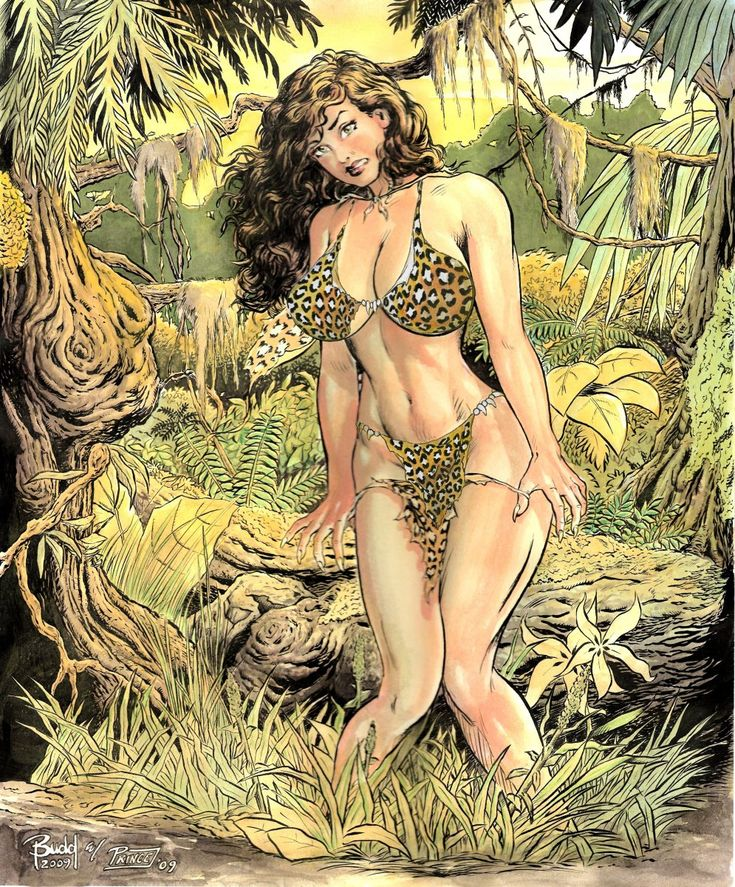 Erotic jungle girl cartoon