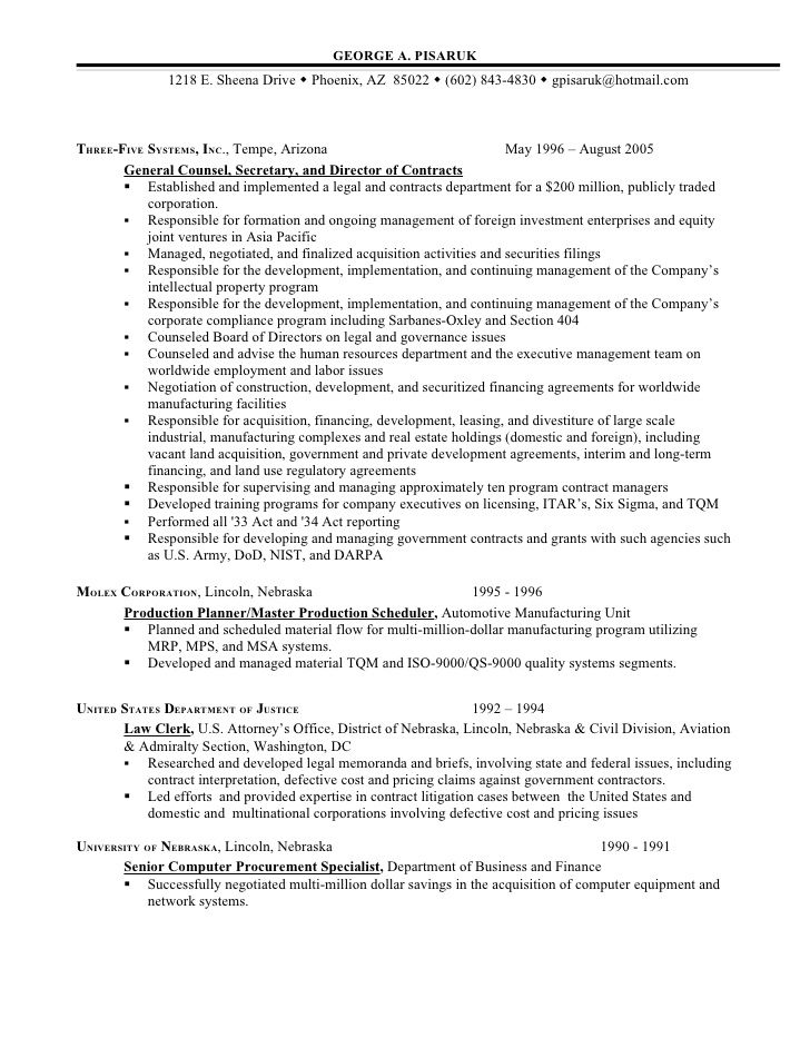lawyer resume deal list submission specialist baseball