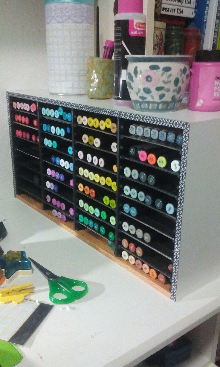 My new alcohol marker storage made from a cd holder. I just finished making this. Lots of Spectrum Noir markers, but also Copics and Promarkers. I use these a lot for school. But there expensive, so I better store them right.
