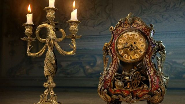 Take a first look at Cogsworth and Lumiere as they'll appear in next year's live-action Beauty and the Beast movie from Walt Disney Pictures.