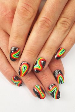 """Intergalactic Rainbow for @ScratchMagazine """"The Nail Underground"""" Nails by Sophie Harris-Greenslade at The Illustrated Nail"""
