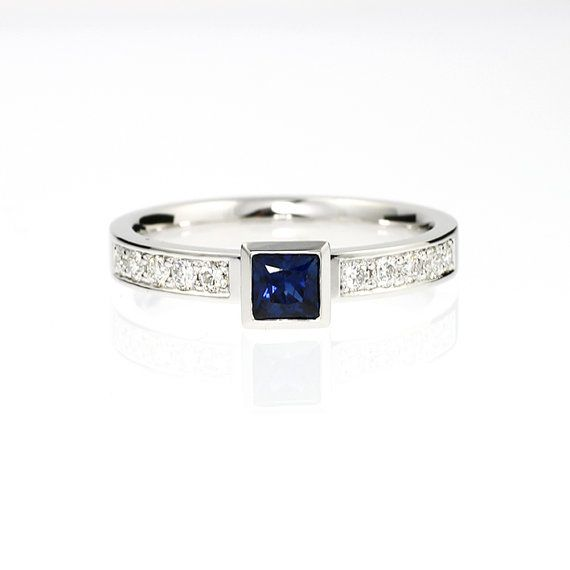 Hey, I found this really awesome Etsy listing at https://www.etsy.com/listing/161733398/blue-sapphire-engagement-ring-princess