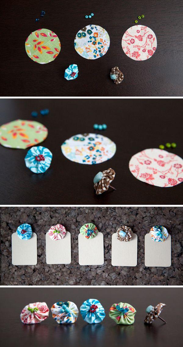 DIY | fabric push pins - Something Turquoise {daily bridal inspiration}