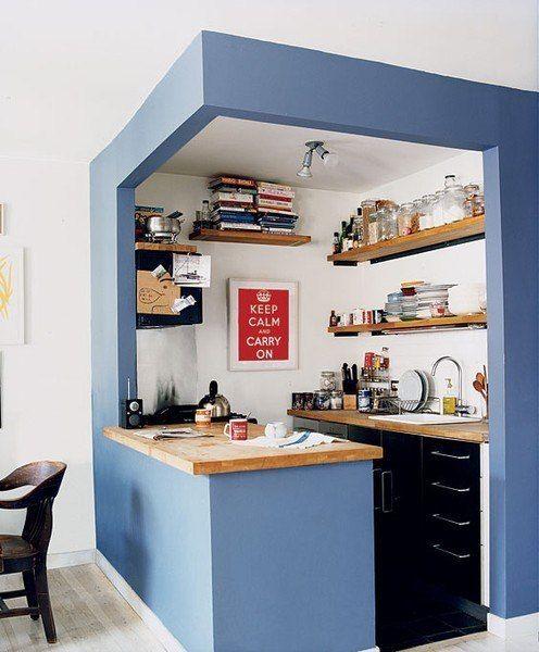 Si tienes un apartamento pequeño esta es una buena idea para separar la cocina del comedor. Además es una forma de decorar el piso :)