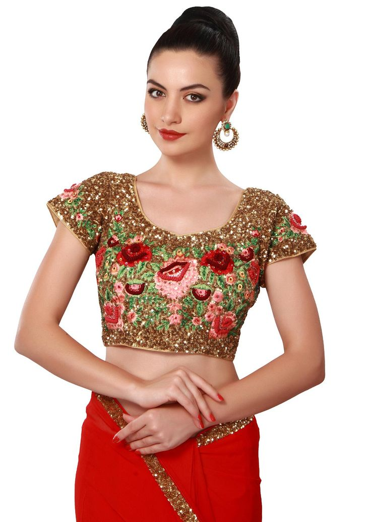 Red saree features with sequin border only on Kalki