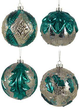 "4"" Teal Blue Glass Christmas Ornament Balls, Set of 4 $22"