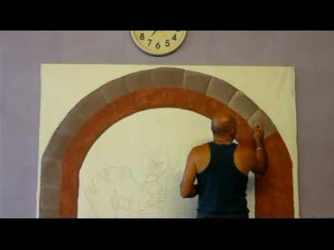 Realizzazione di un trompe l'oeil raffigurante un arco in pietra con vista su un castello e un cavaliere in primo piano. Prima parte-realizzazione dell'arco.