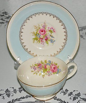 Homer Laughlin Chateau Tea Cup Saucer Set Eggshell Georgian Blue | eBay