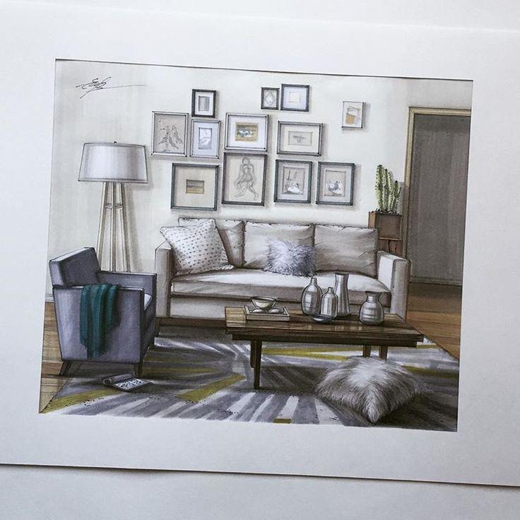 Interior Design Color Sketches 92 best rendering ~ black/white & color images on pinterest