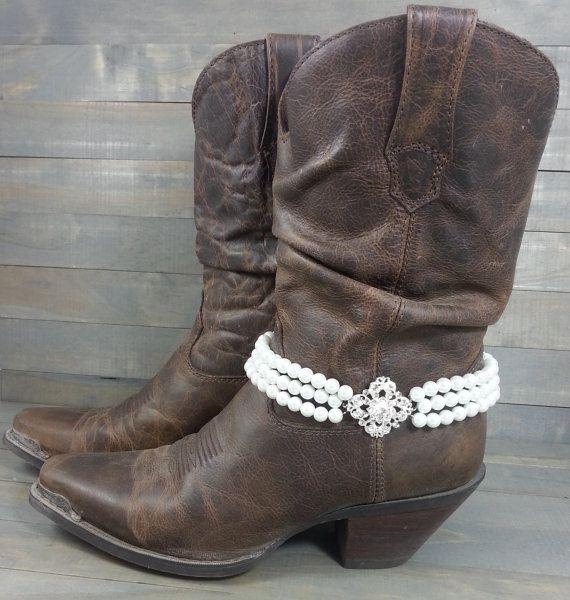 Bridal Cowgirl Boot Bracelet, Rhinestone Pendant, Triple Pearl Strand, Boot Jewelry, Boot Accessory