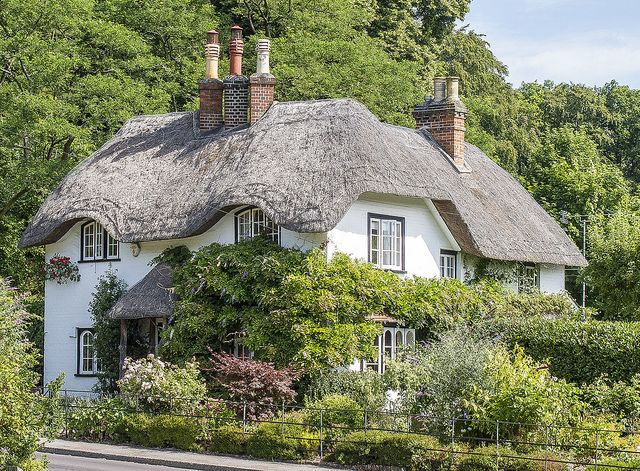New forest bee hive cottage white washed english cob cottage with thatched roof home is - The thatched cottage ...