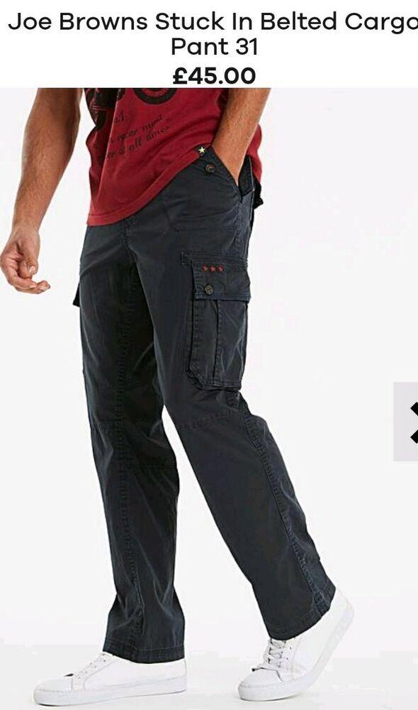 Mens Joe Brown Stuck In Belted Navy Cargo Pant 31 Plus Size