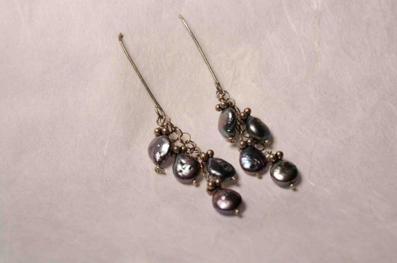 Earrings Fine Peacock Coin Pearl on Sterling Silver by QuietMind, $55.00: Quietmind, Peacock Coins, Fine Peacock