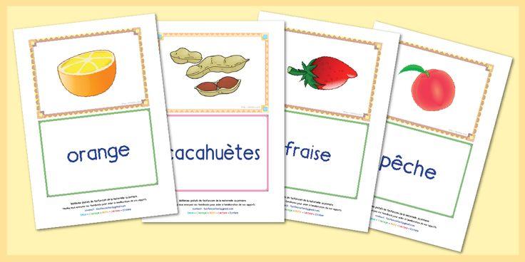 Fiches de lecture sur le thème fruits et légumes à imprimer | Les fruits et légumes communs