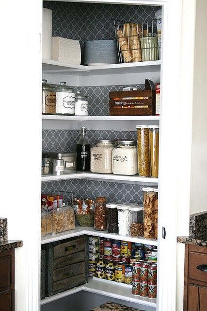 Pretty pantry: Wall Paper, Wallpaper, Pantries, Kitchen Pantry, Organized Pantry, Pantry Organization, House, Pantry Makeover