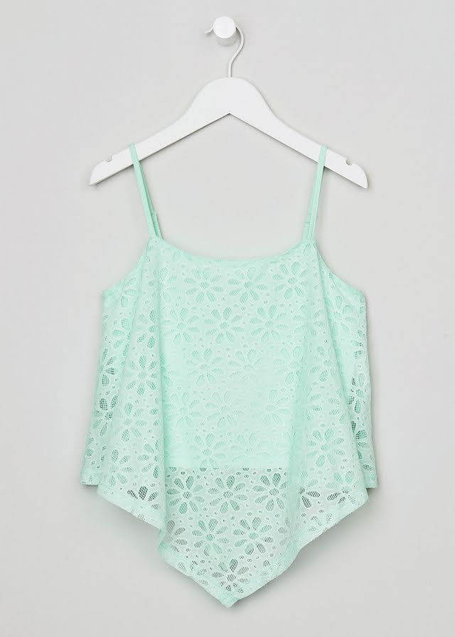 Girls Candy Couture Mint Lace Top (9-16yrs) View 1