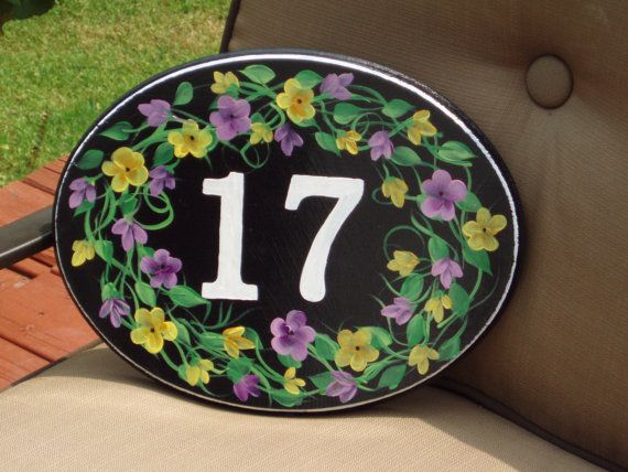 Hand Painted Custom Address Plaque by paintingbymichele on Etsy