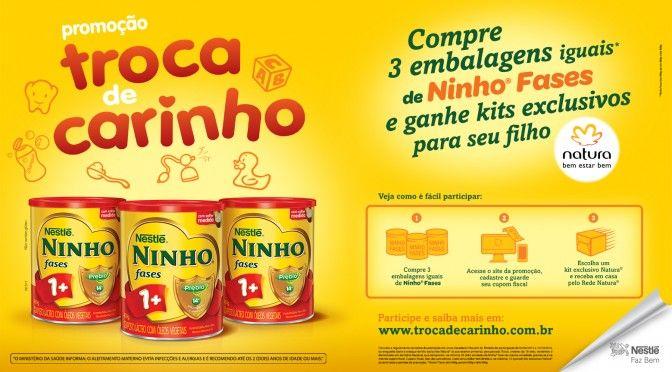 """A promoção """"Troca de Carinho"""" para consumidoras de Nestlé Ninho vai até 15 de outubro. Quem comprar 3 embalagens iguais de NINHO Fases e se cadastrar no site www.trocadecarinho.com.br recebe, em casa, um kit de produtos Natura. Não é sorteio! Mais detalhes aqui: http://mamaepratica.com.br/2015/09/15/promocao-compre-ninho-fases-e-ganhe-um-kit-natura/"""
